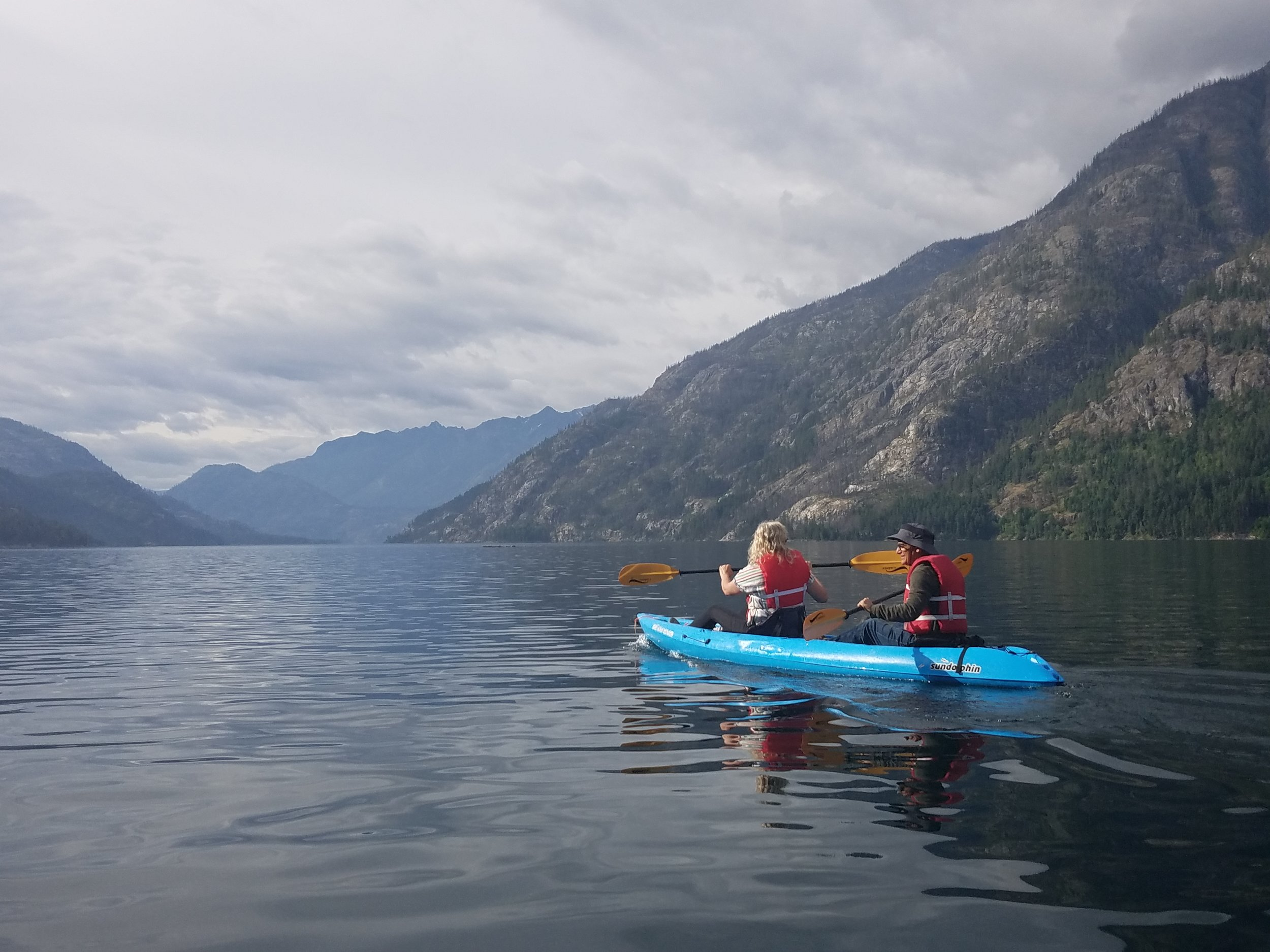 Kayaks rented from the North Cascades Lodge in Stehekin make a great way to explore Lake Chelan but be aware of shifting winds that can make paddling northward a slog. Photo by M.M. Ruth