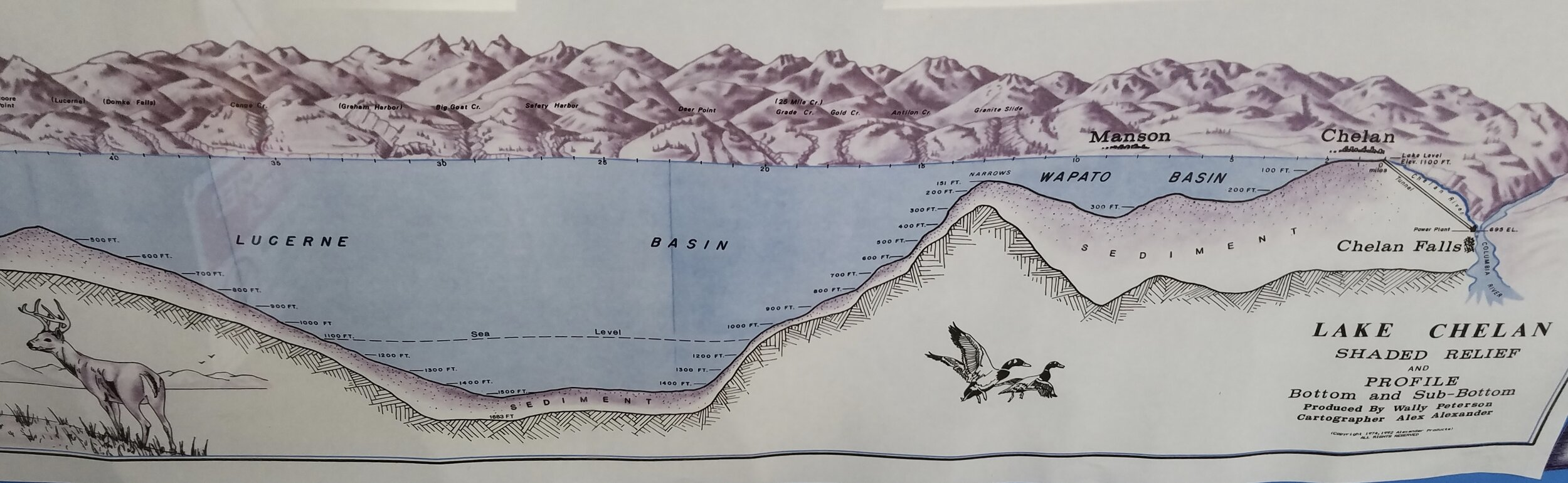 In the wake of the Pleistocene…a ice-gouged valley and a 1,485-foot-deep lake. (Photo by M. M. Ruth of map on display aboard the  Lady of the Lake  passenger ferry.