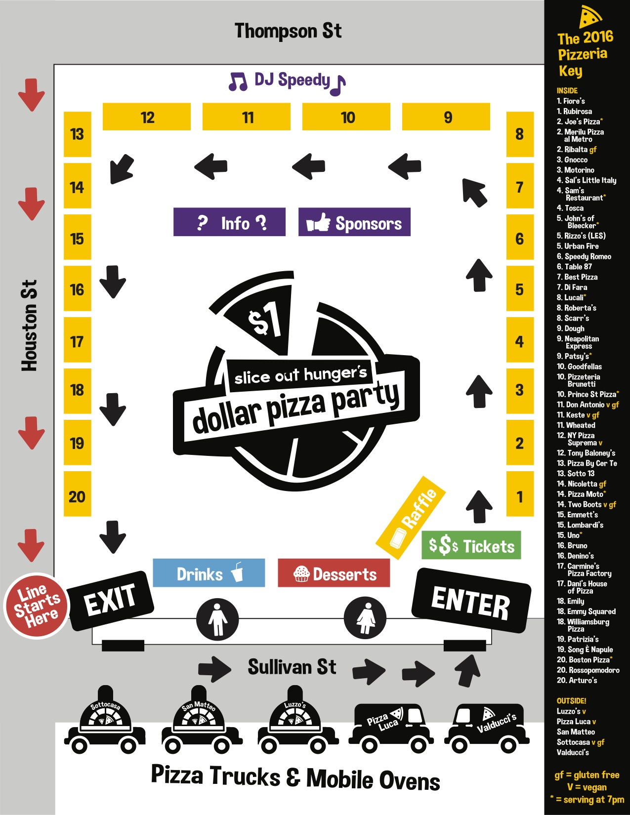 Use this map to plan your ultimate pie! You'll hit the mobile ovens and pizza trucks first, then head inside to the main event space.