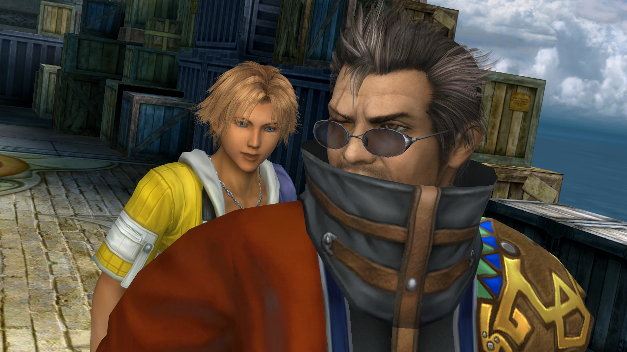 """Tidus and Auron. """"Why can't I quit you?""""   Source"""