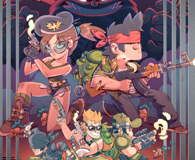The awesome NES inspired box art for  Mercenary Kings