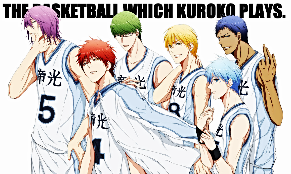Team Teiko (middle school) b.k.a. the Generation of Miracles: Atsushi Murasakibara, Seijuro Akashi, Shintaro Midorima, Ryota Kise, Tetsuya Kuroko, and Daiki Aomine (left to right).