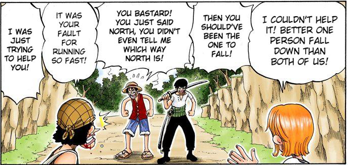 """You bastard! You just said North, you didn't even tell me which way North is!"" - Luffy ( One Piece , chapter 30)"