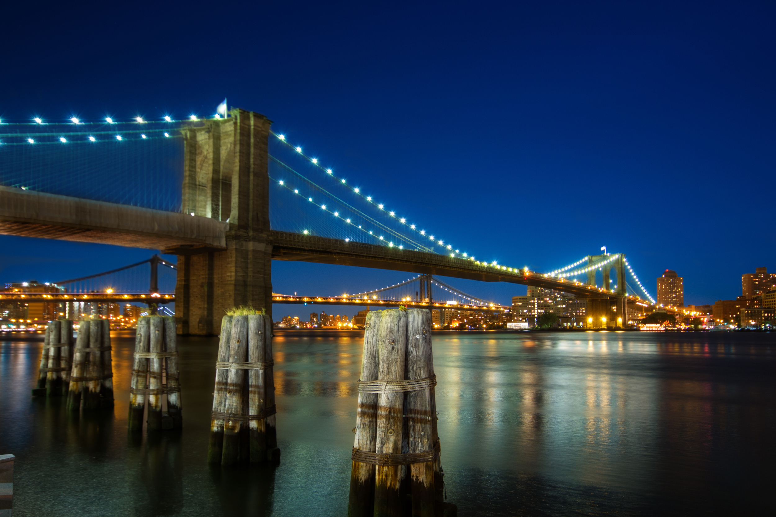 Brooklyn Bridge at Night  Framed - 12x18  Unframed - 8x12