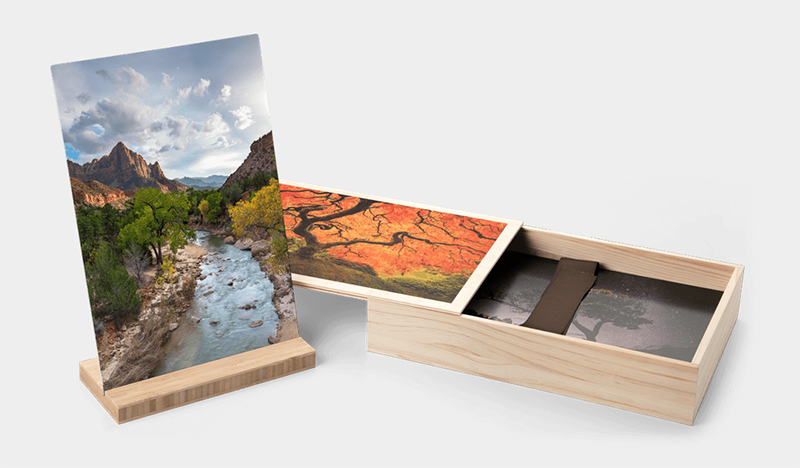 Bamboo Stands and Wood Boxes With Photo Image