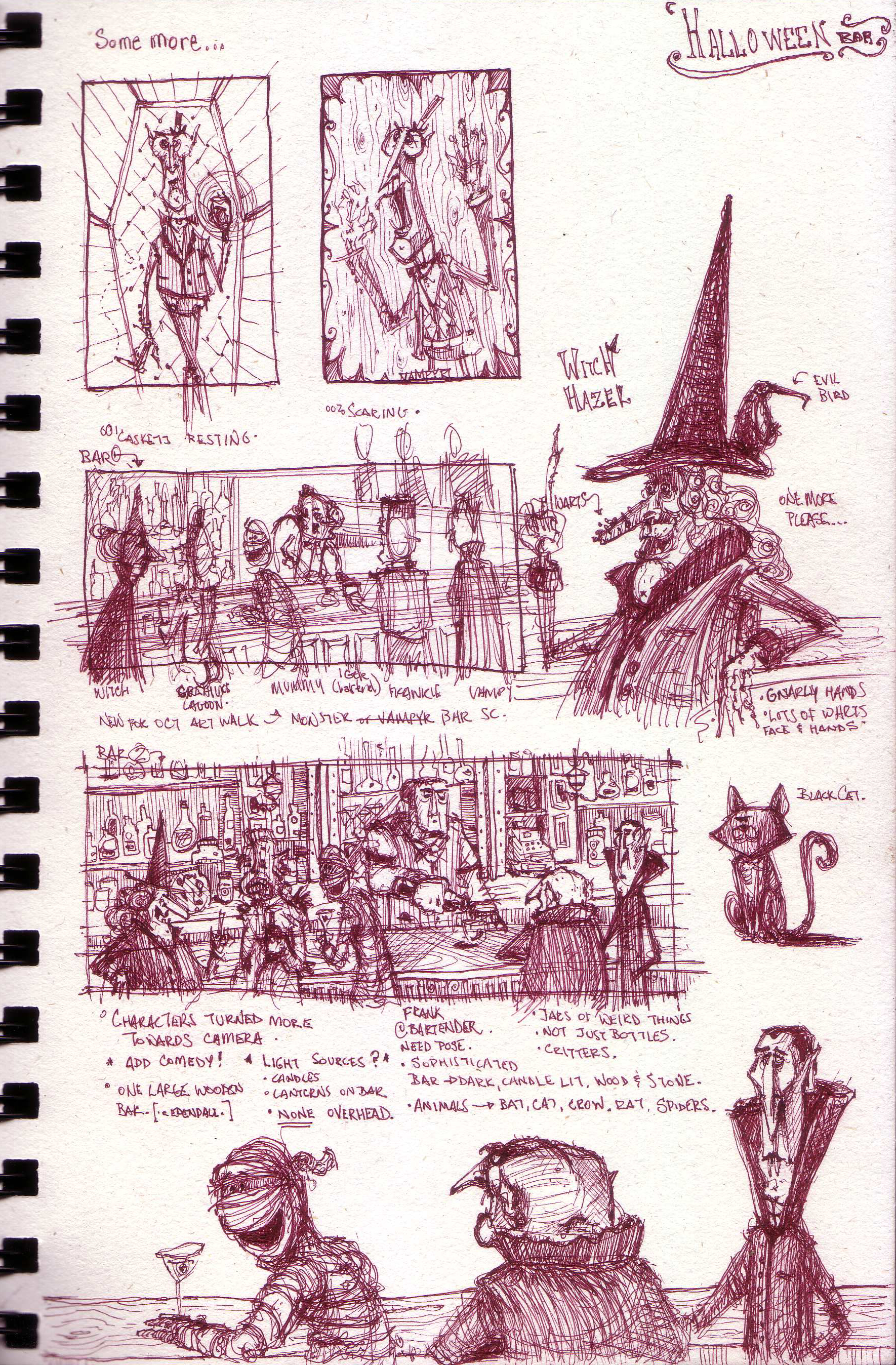 Sketches and notes for an October painting.
