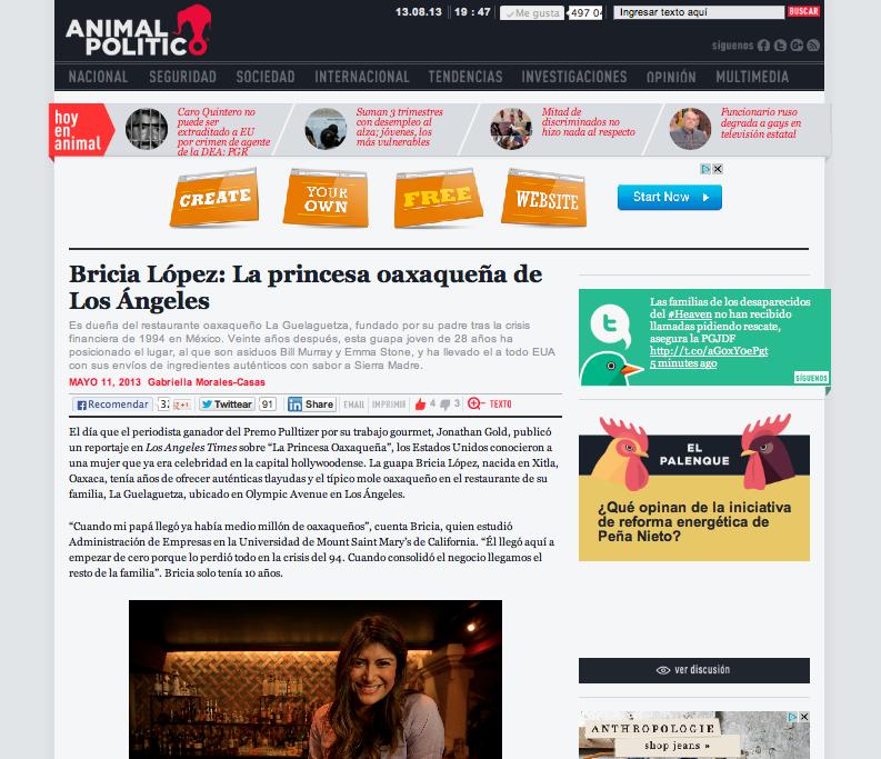 Bricia Lopez, La Princesa Oaxaqueña de Los Angeles - via Animal Politico