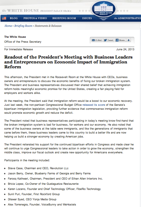 President's Meeting with Business Leaders and Entrepreneurs on Economic Impact of Immigration Reform Includes Bricia Lopez