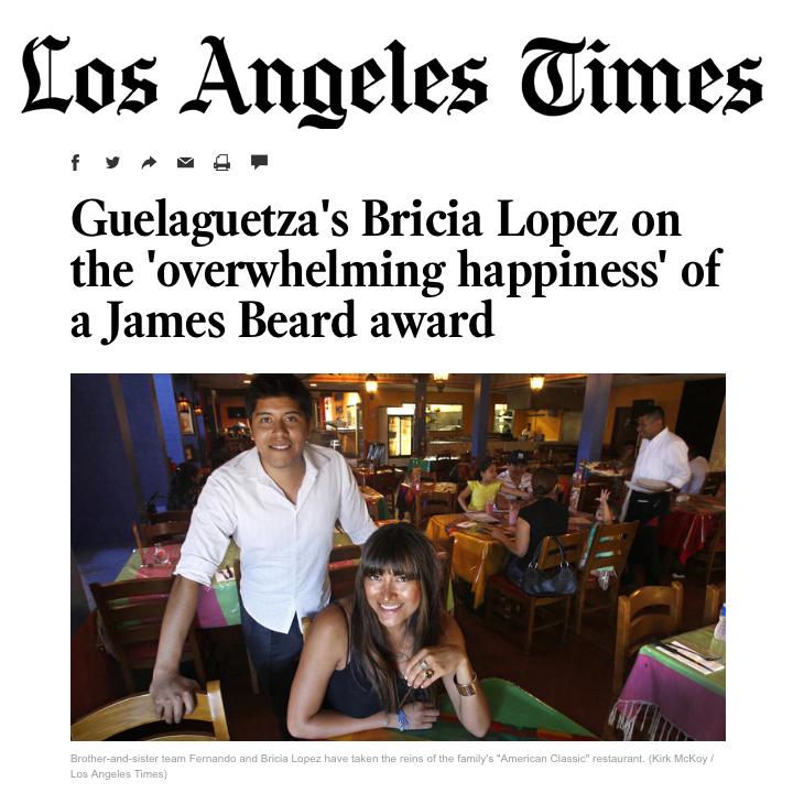Bricia Lopez on winning James Beard Award