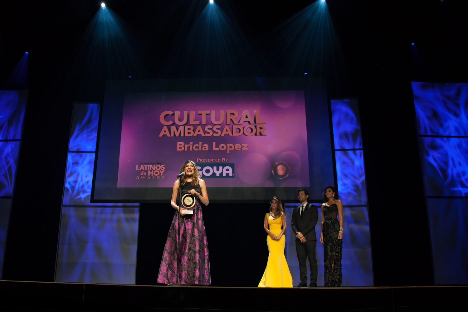 Bricia Lopez, receives the Cultural Ambassador award at the Los Angeles Times and Hoy 2015 Latinos de Hoy Awards at Dolby Theatre in Hollywood.