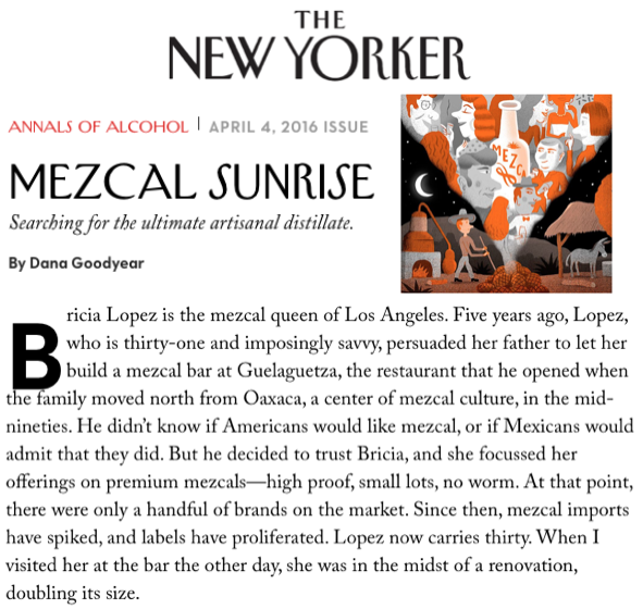 The New Yorker Talks Mezcal with Bricia