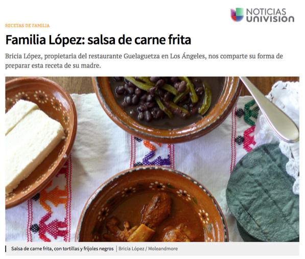 Bricia shares family recipes on Noticias Univision