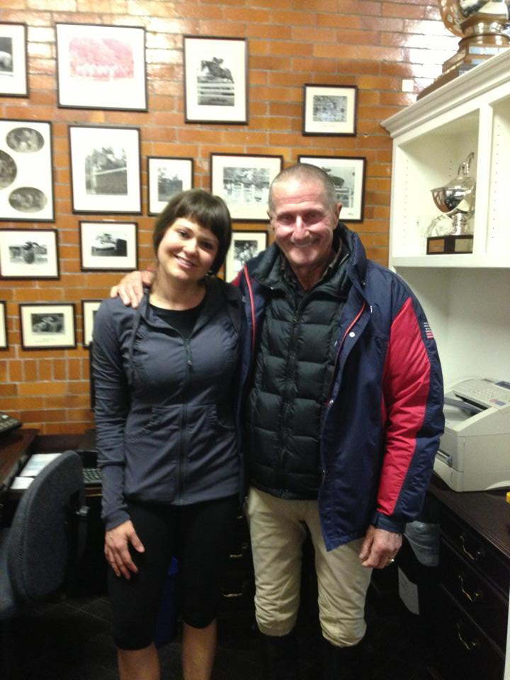 Jennifer, pictured with George Morris- Chef D'equipe for US Olympic equestrian team. Jennifer's workshop was included as part of the George Morris clinic at Gladstone.