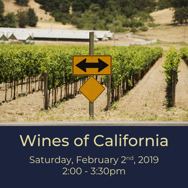 $30.00   We're celebrating the country's largest wine-producing state with a whole evening dedicated to tasting and talking about California wines. We'll taste wines from big-name regions like Napa and Sonoma, and some up-and-coming appellations as well. Join us for some delicious California dreaming!