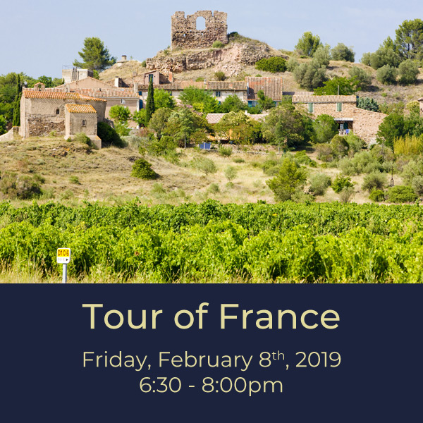 $35.00   France can be a daunting wine region to grasp. In this tasting based tour we'll uncover the main wine growing regions of Burgundy, Bordeaux, Loire, Rhone,and more. We'll talk about labeling laws and grape varieties and how learning just a few tricks can help you pick that perfect bottle.