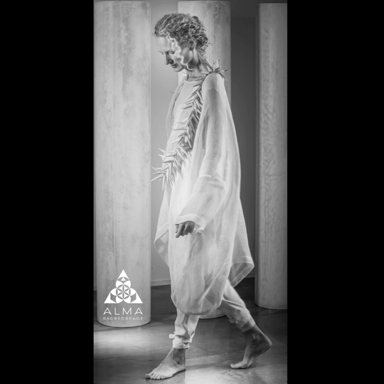 Designer for ALMA SACREDSPACE a bespoke line of spiritual garments.