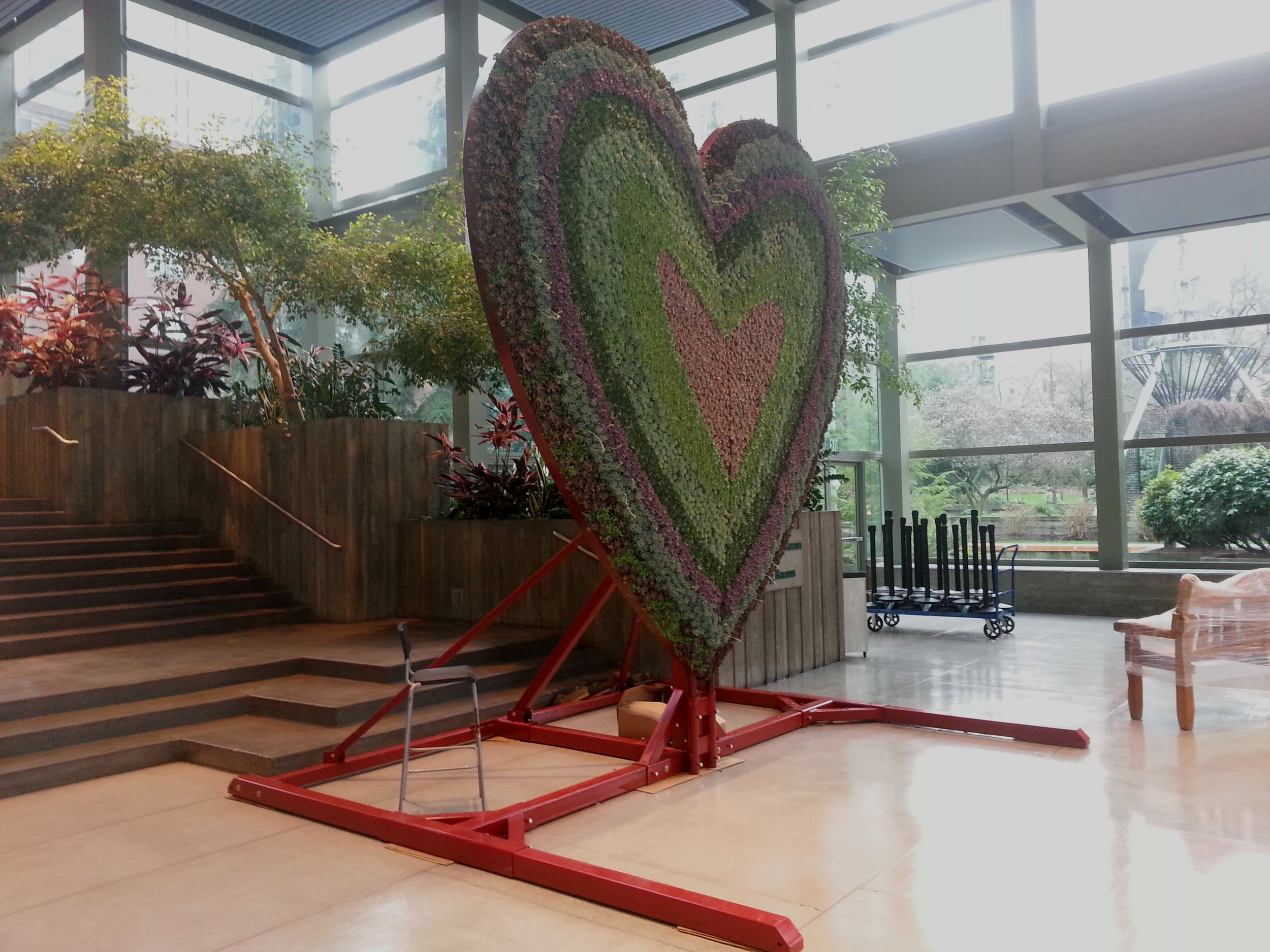 Heart sculpture setup for display at the Northwest Flower and Garden show in Seattle WA