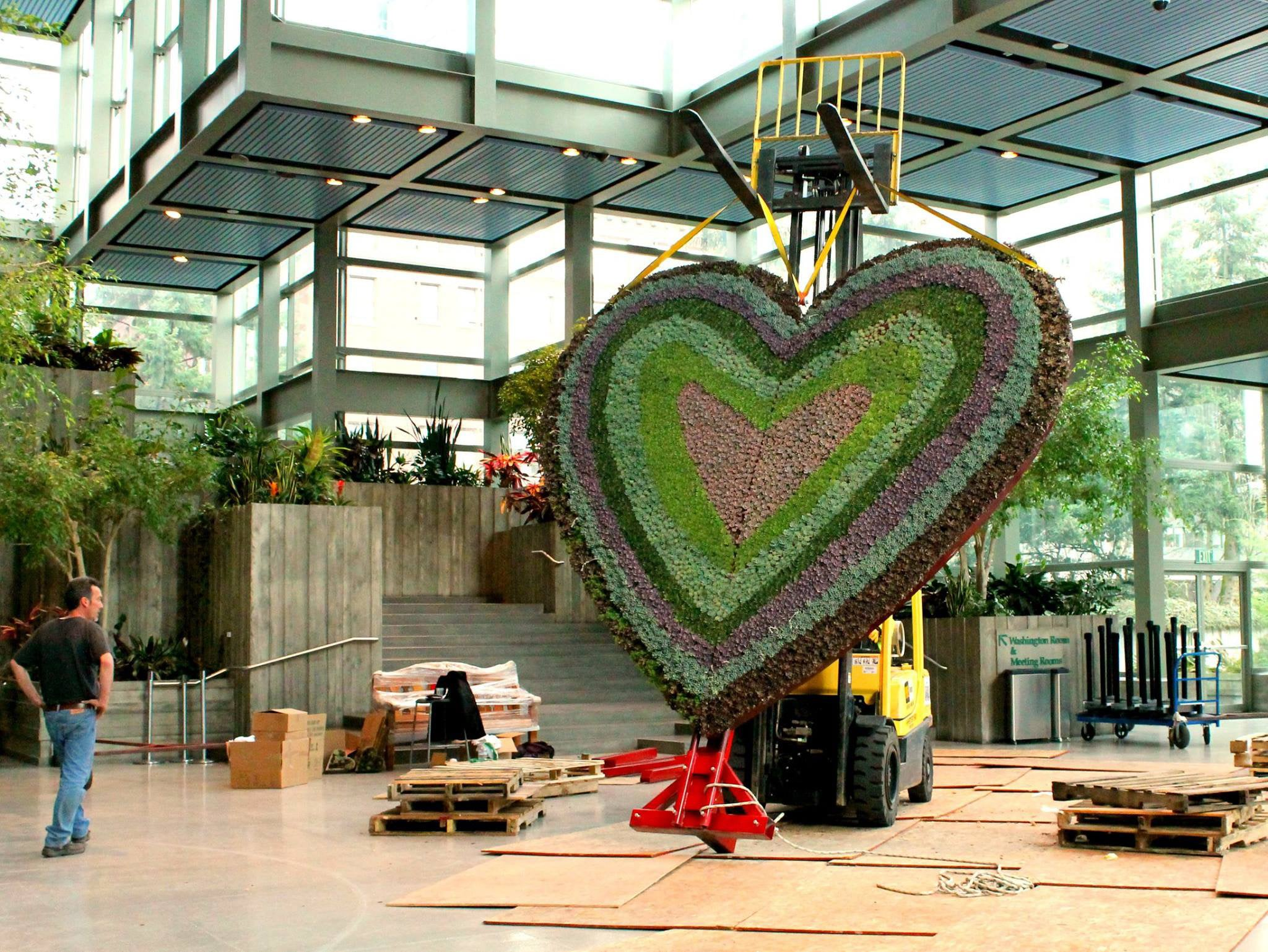 Working on the installation of the heart onto its stand in Seattle