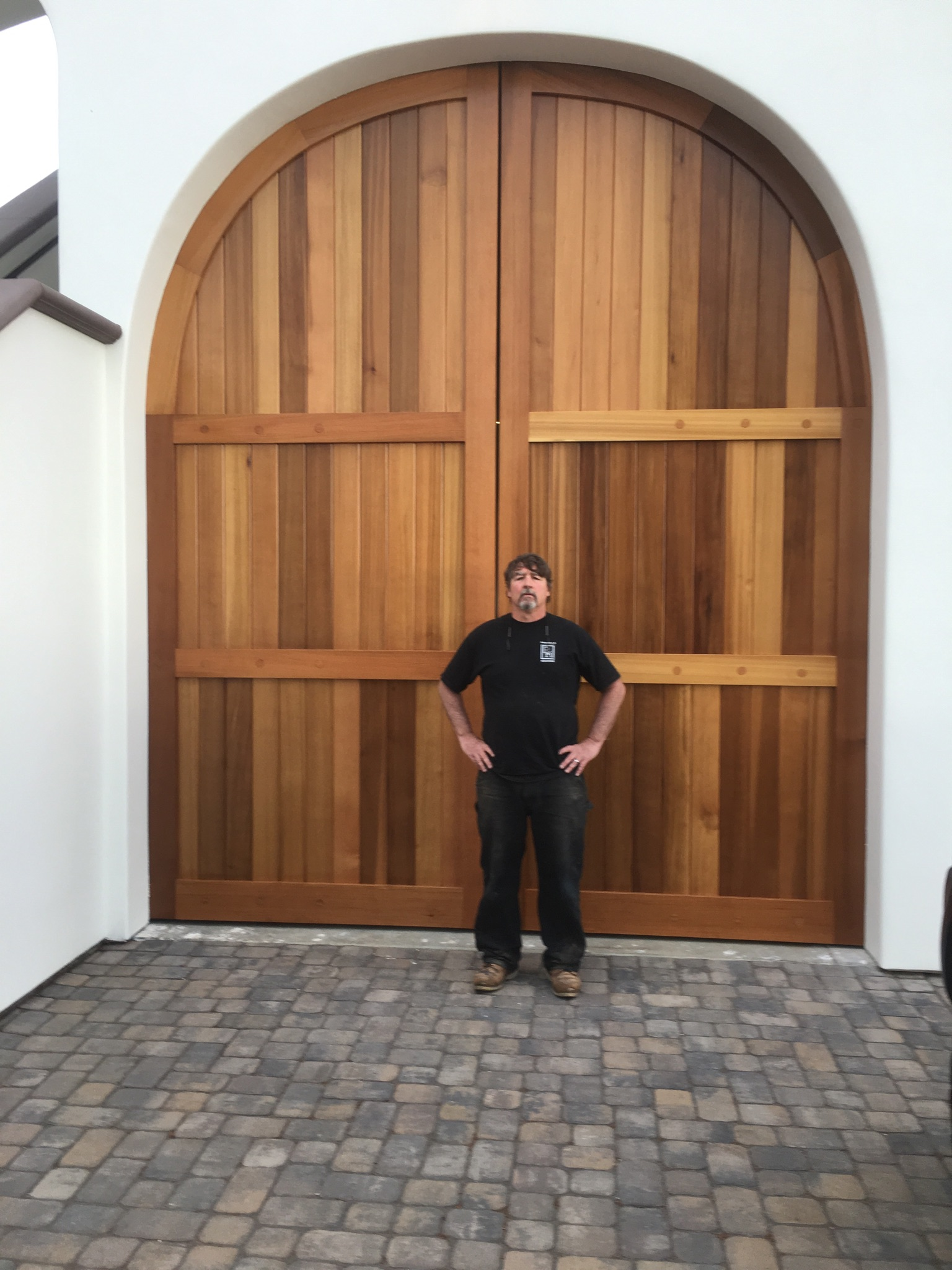 Here's the exterior of the Cedar doors with Shannon Williams standing in front of them to give a sense of just how large these doors are.