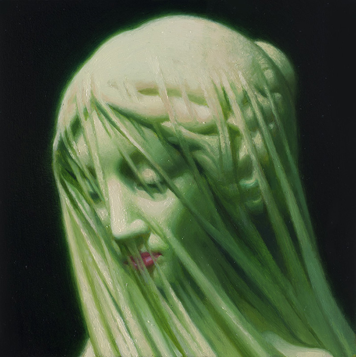 Green Virgin 6'' x 6'' Oil on panel Private Collection