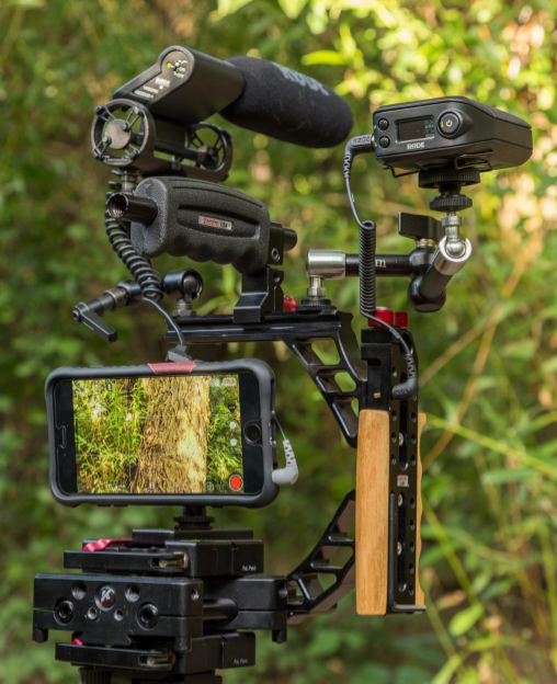 Zacuto Half Cage, Kessler Z-Plate, Qwick Release Plate, Rode Videomic, Rodelink and SC4.