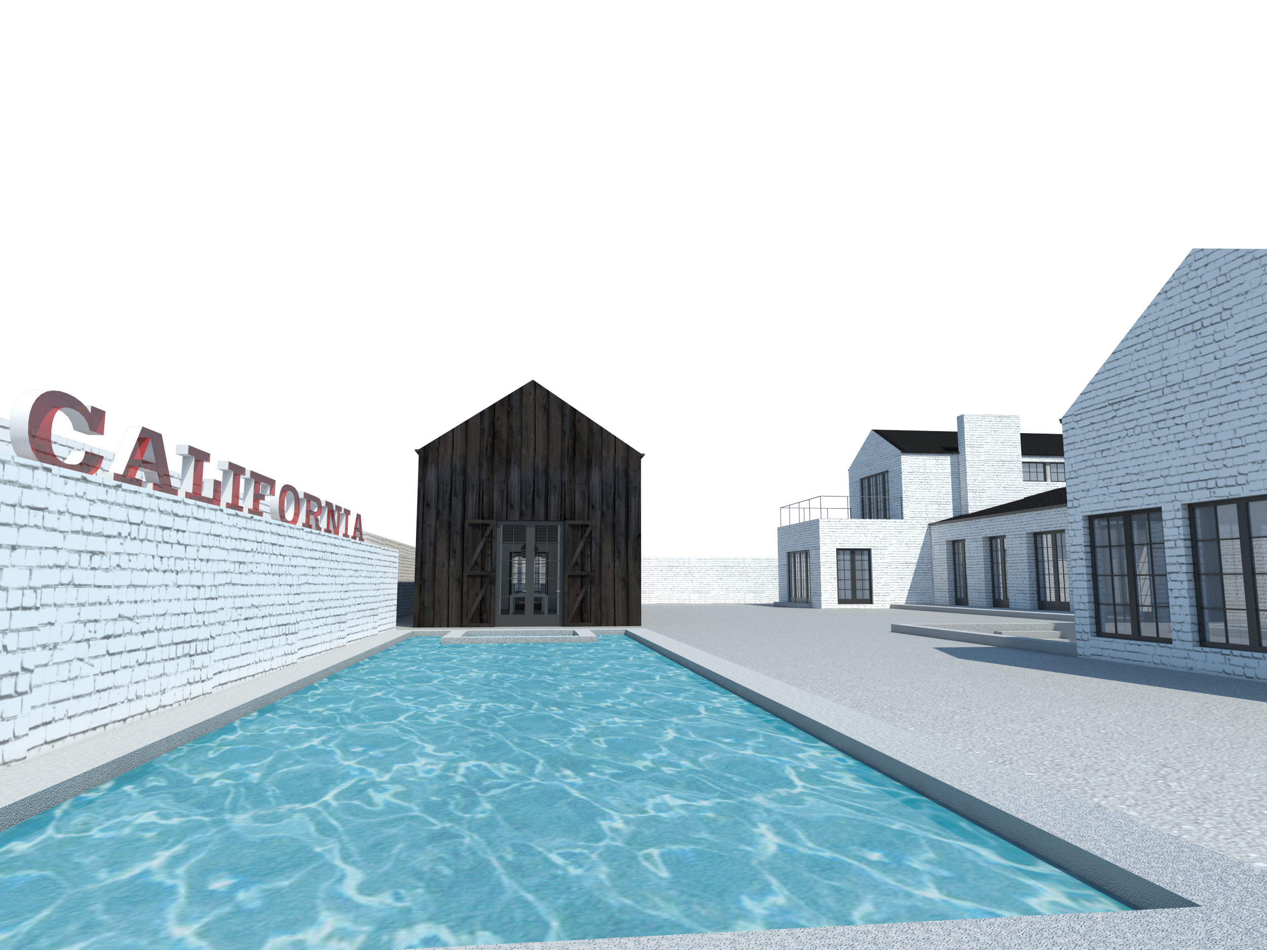 A study model view from the pool, looking towards the studio and rear facade.