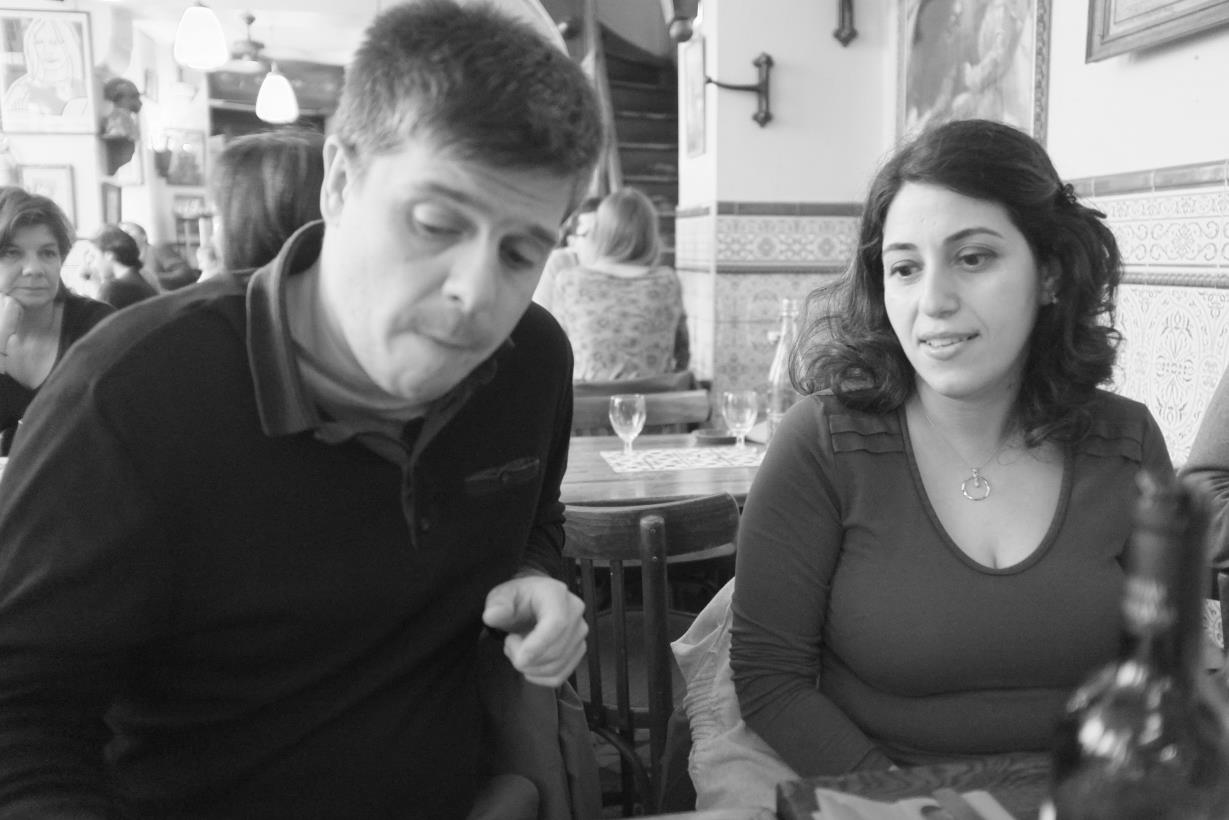 yiannis and joyce, at caves st. gilles, near bastille, paris, june 2013