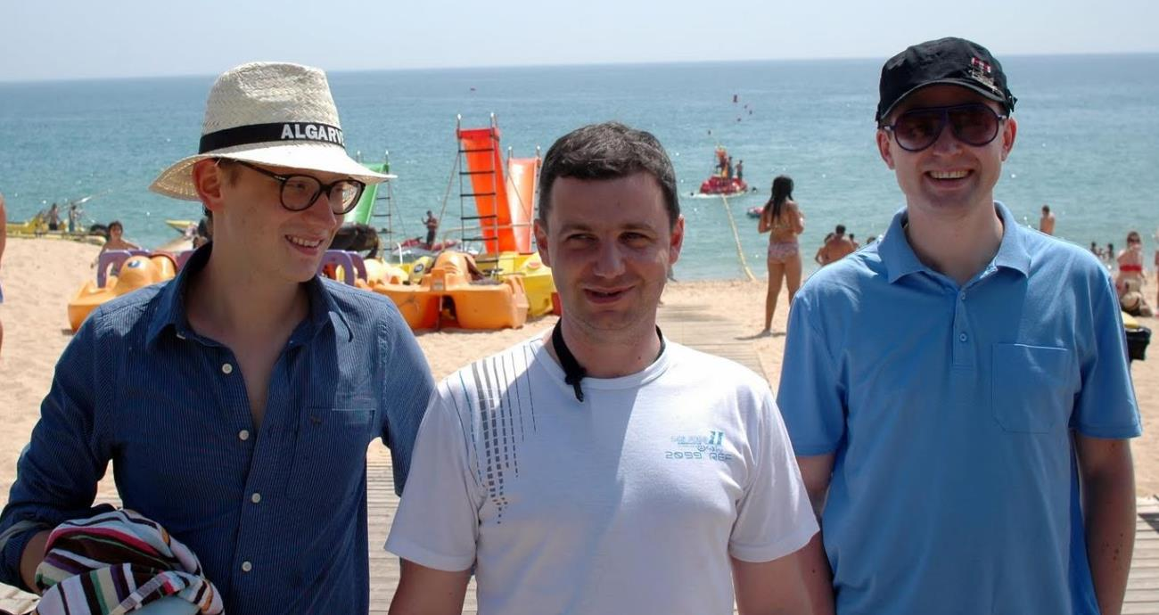 pawel, lukasz, and lukasz, three very dangerous fugitives, on the run, and keeping their distance from the CIA, faro, portugal, july 2011