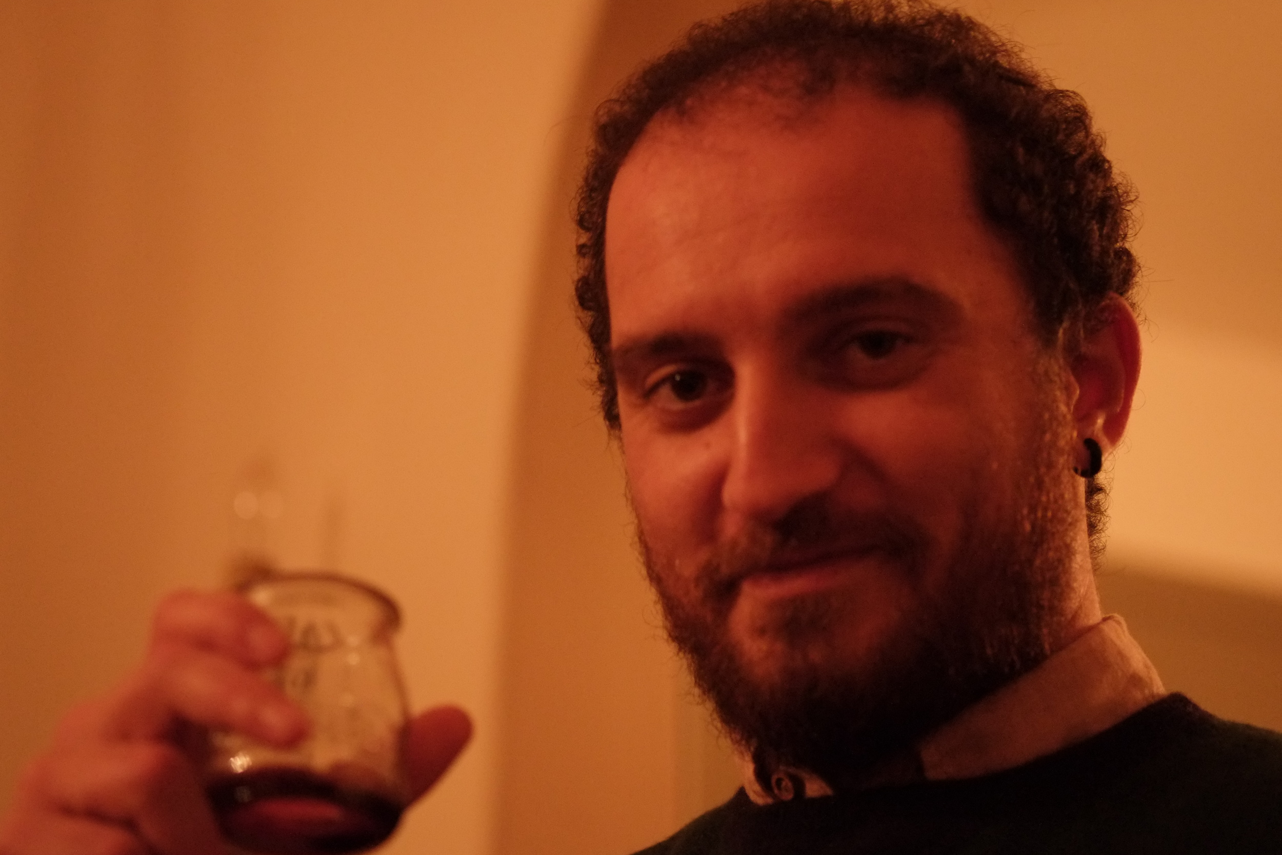 francesco at the house, surprised that the french can make a decent red wine....january, 2015