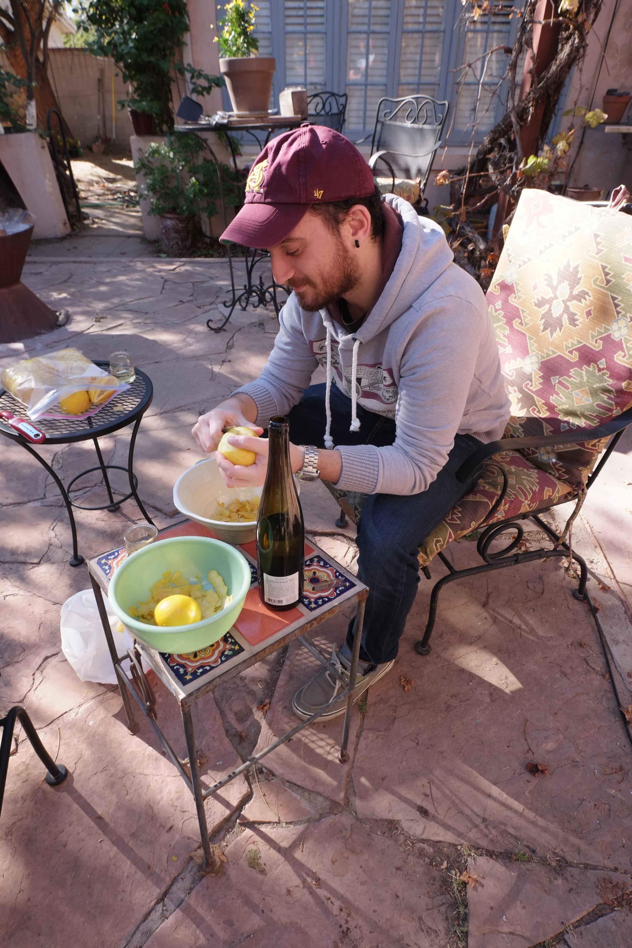Francesco, zesting lemons for limoncello, jan 2015