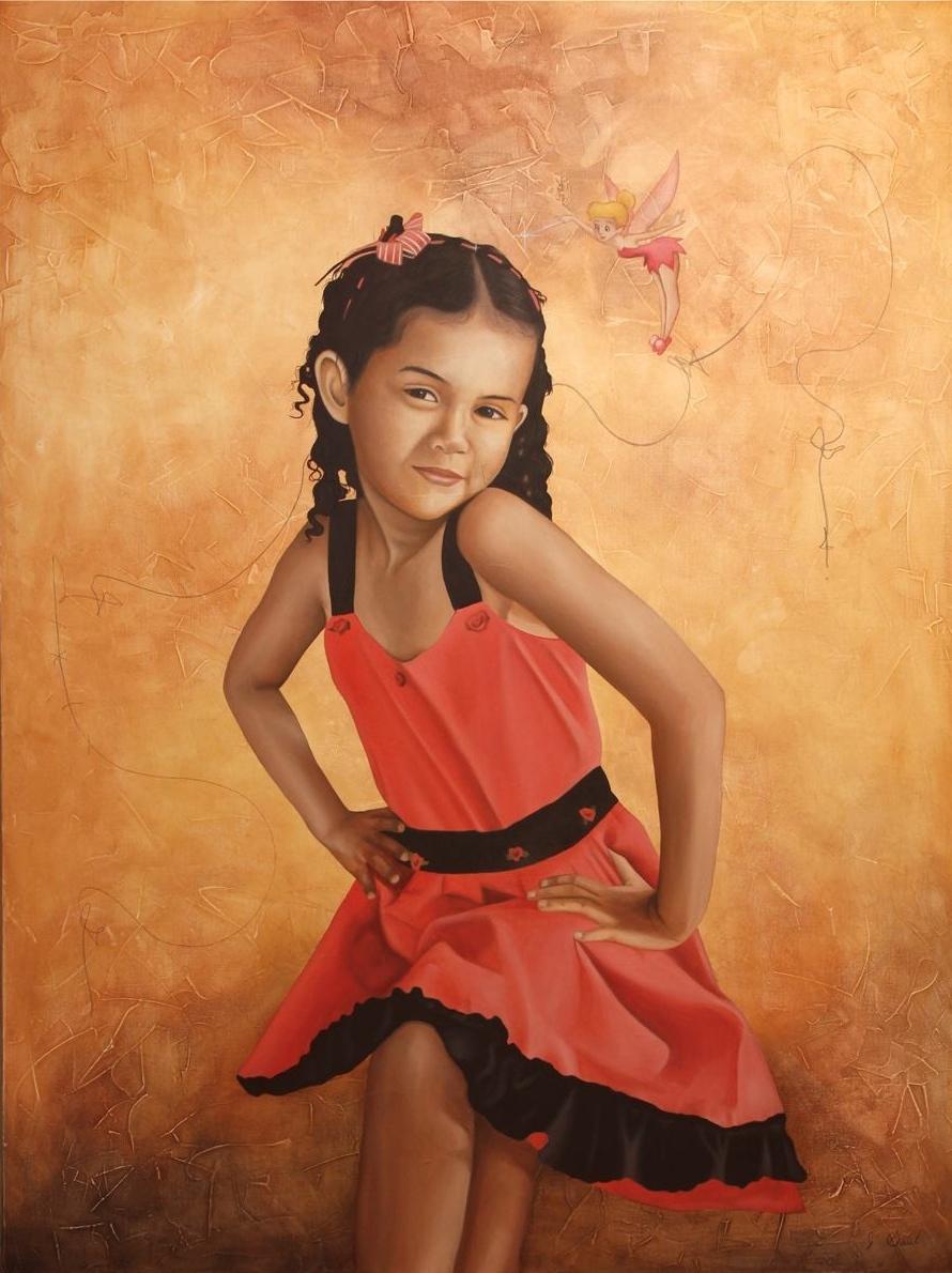 """CAMPANITA Y LA NIÑA, mixed media, oil on canvas, 49"""" x 37""""  SOLD"""