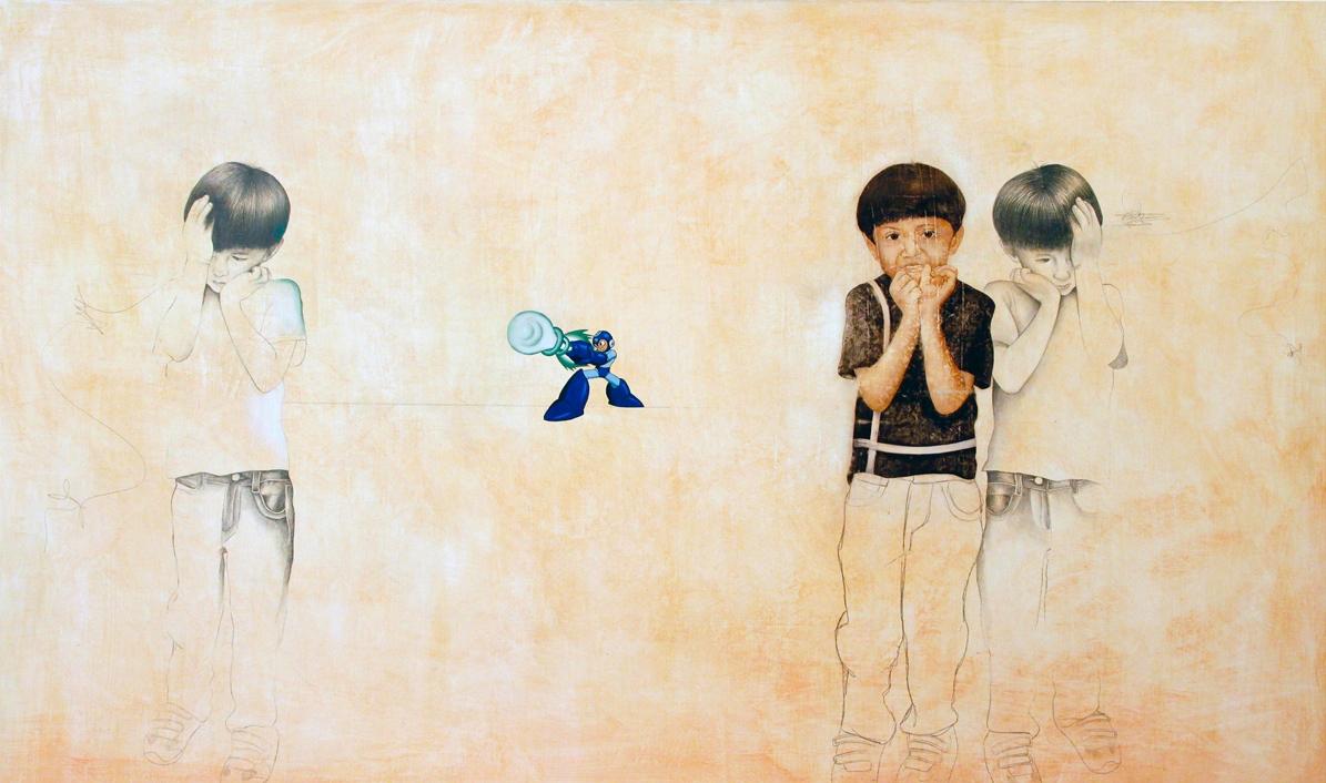 "TRANSICION, mixed media, oil on canvas, 37"" x 61""   $2100"