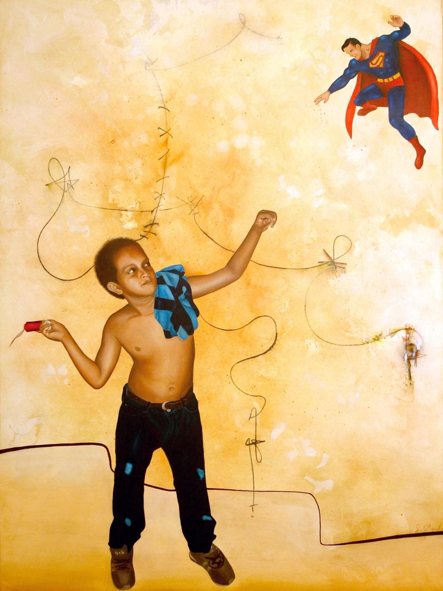 "AMENAZA DE FUEGO, mixed media, oil on canvas 49"" x 37"" $1900"