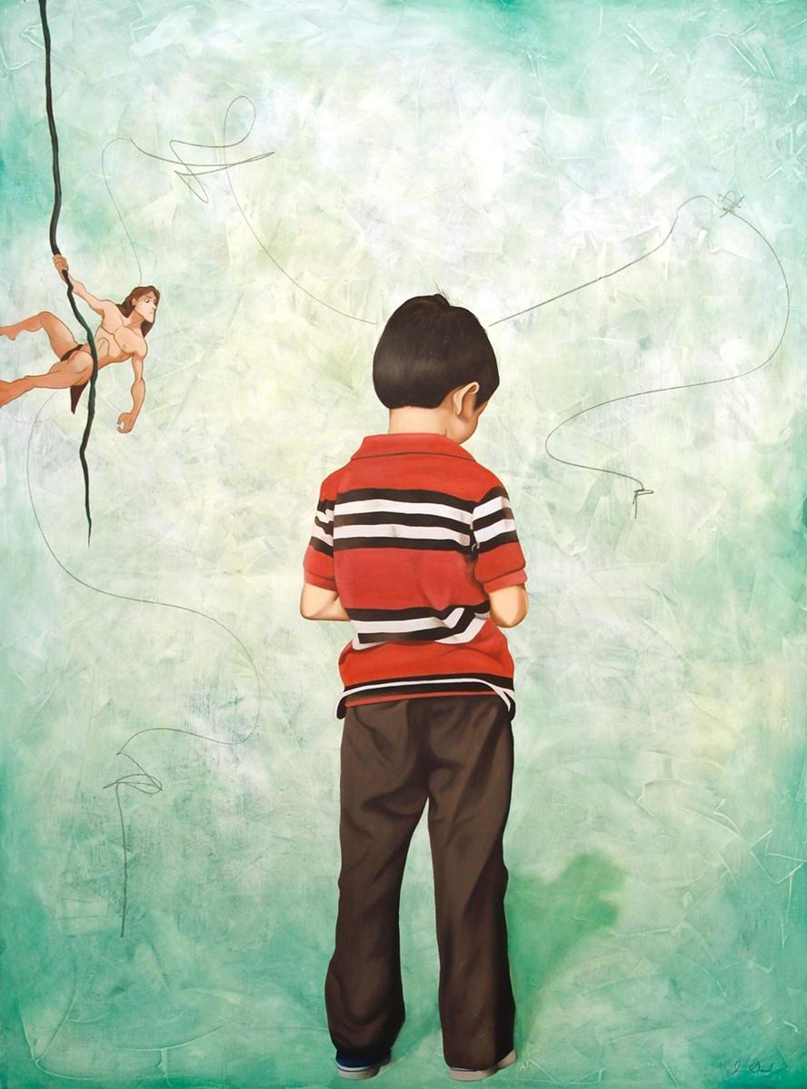 """DIALOGO CERRADO, mixed media, oil on canvas, 49"""" x 37""""  $1900"""