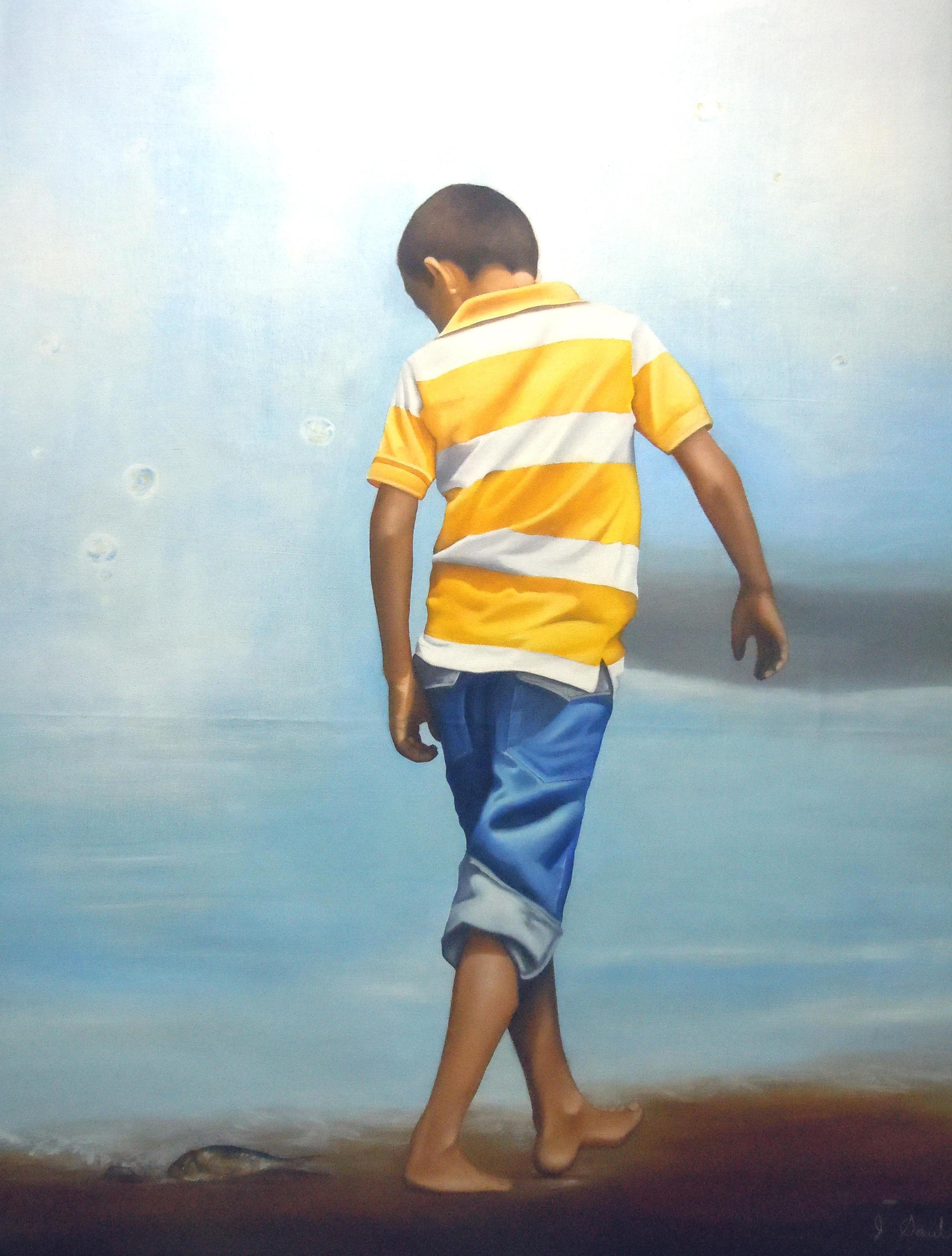 """EL NIÑO Y EL PEZ, mixed media, oil on canvas, 48"""" x 36""""  $1900"""