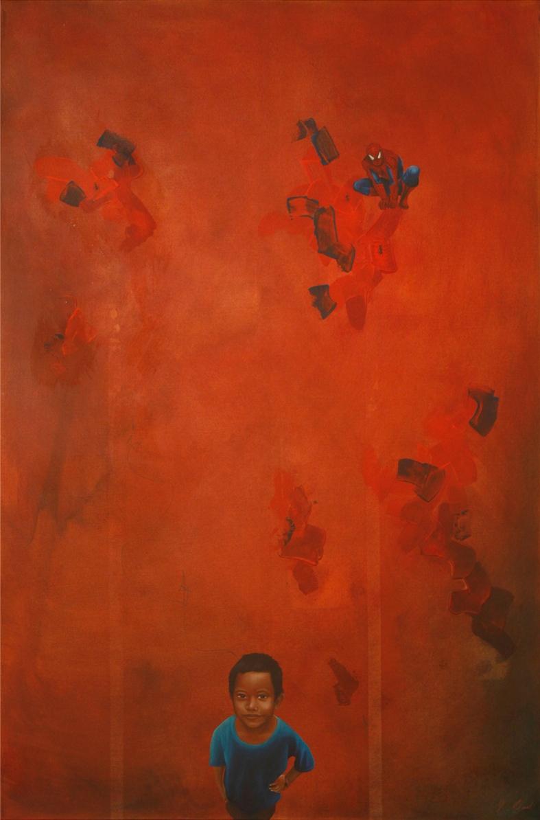 "MUNDOS EXTRAÑOS, mixed media, oil on canvas, 48 1/4"" x 33 1/4""   $1900"
