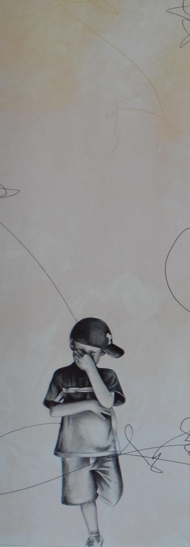"LAGRIMAS DE SOLEDAD, graphite, pastel and mixed media on paper, 20"" x 8 1/2""  SOLD"