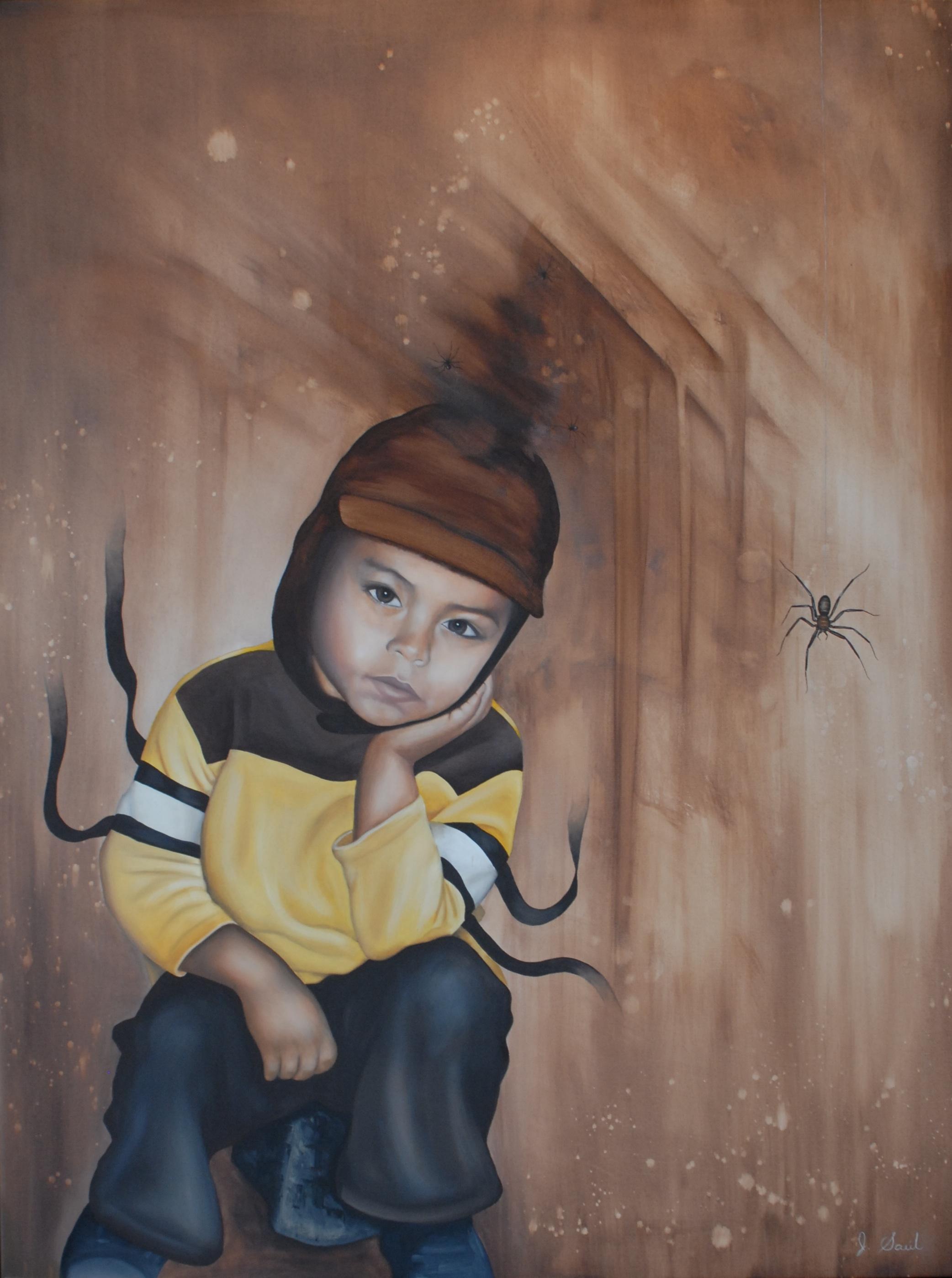 "TELARAÑAS EN LA MENTE, mixed media and oil on canvas, 49"" x 37"",  $1900"