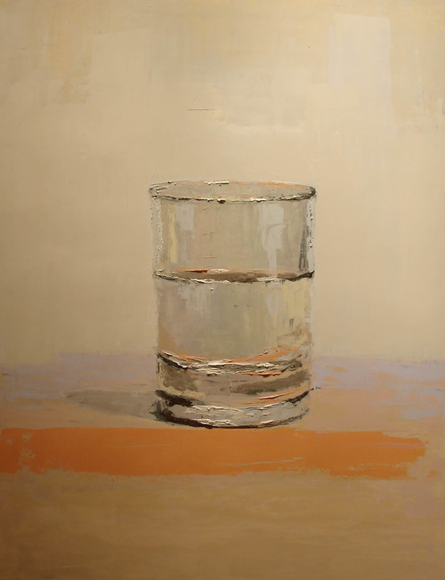 Water Glass on Orange Table