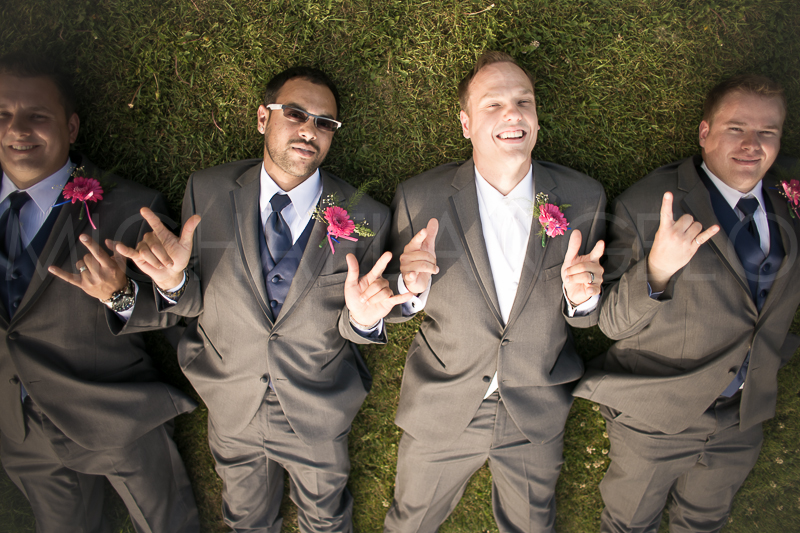 Fall, 2013.  Manuel (far right) beside Adam and two other groomsmen as they posed for a photo taken during Adam and Nancy's wedding.