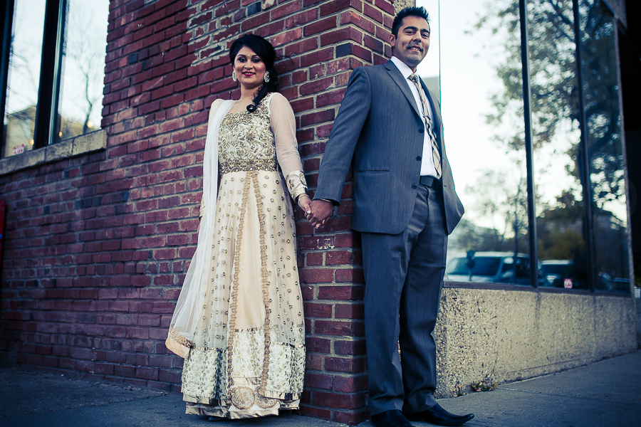 Amy Minhas and Mandeep Parmar at an impromptu photo session during their engagement event.