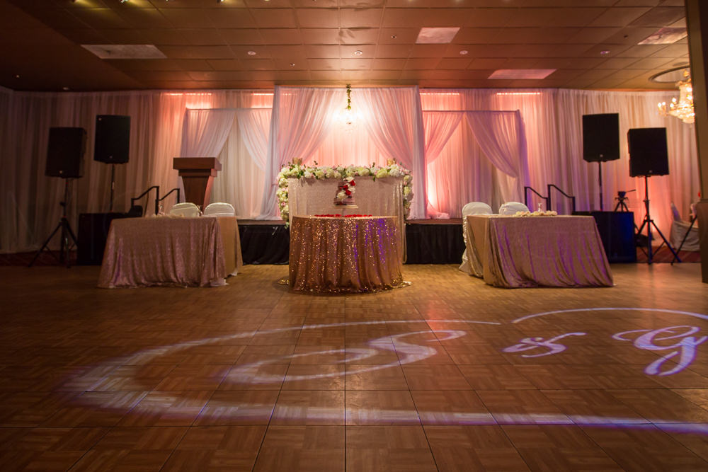 The stage for the reception. Donned with exquisite lighting setup and amazing tones and fixture.