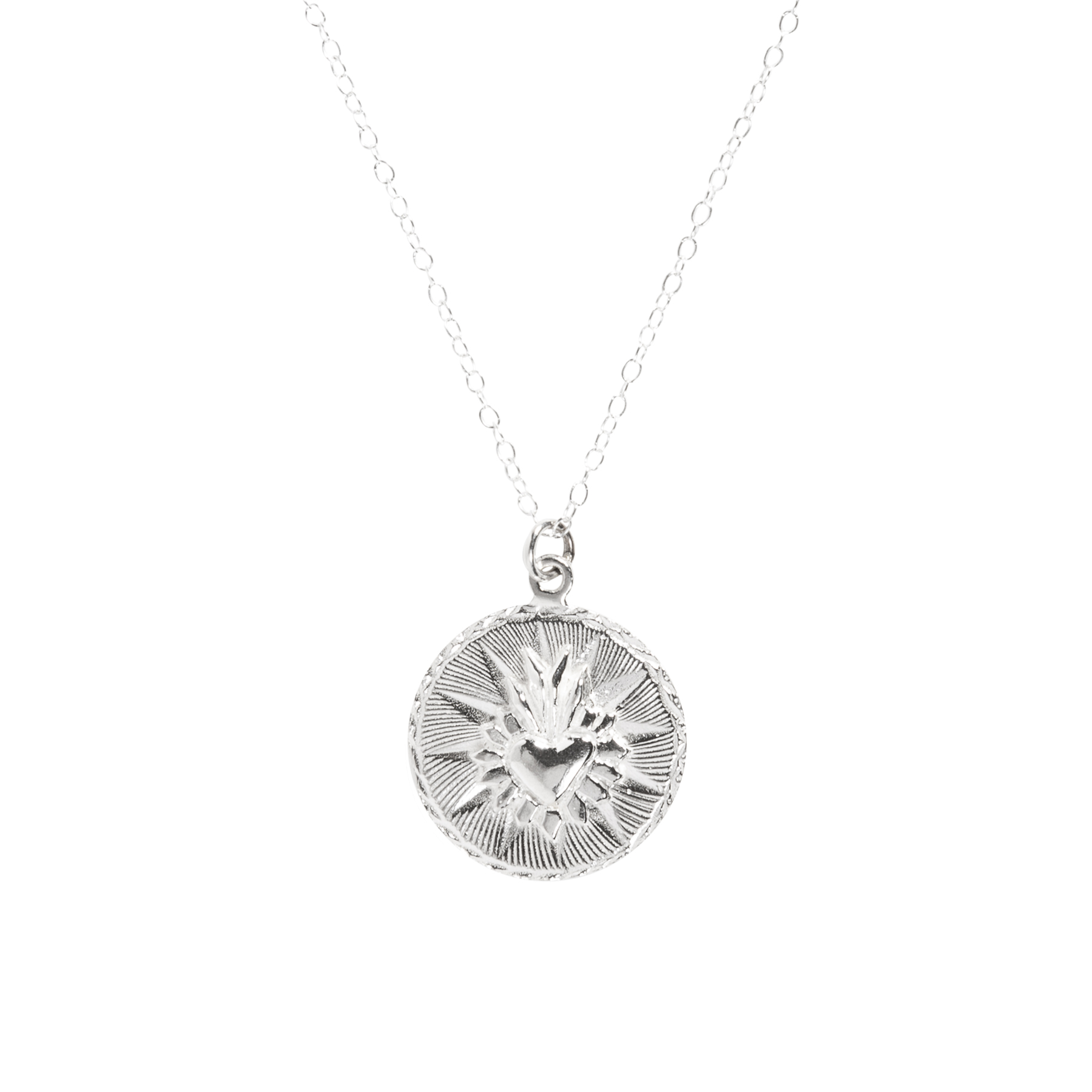 Silver - Solid Sterling SilverMight tarnish over time. Hypoallergenic.Affordable precious metal. Metal might scratch and burnish over time with daily use.Necklaces come with solid sterling silver chain.Cleaning:Brush lime + baking soda, rinse and pat dry.