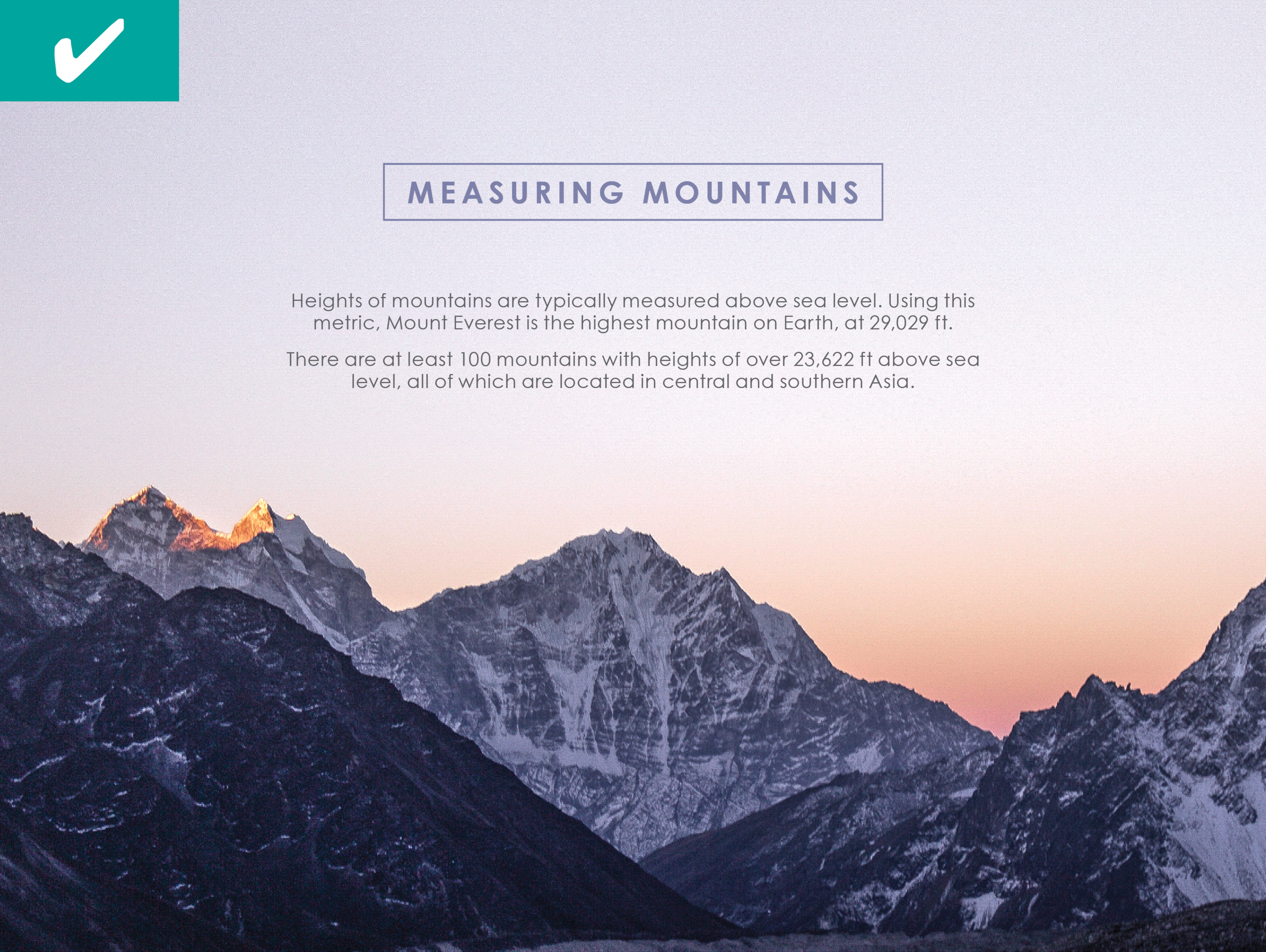 Our Version:  The scenic view instantly draws in anyone interested in mountains.