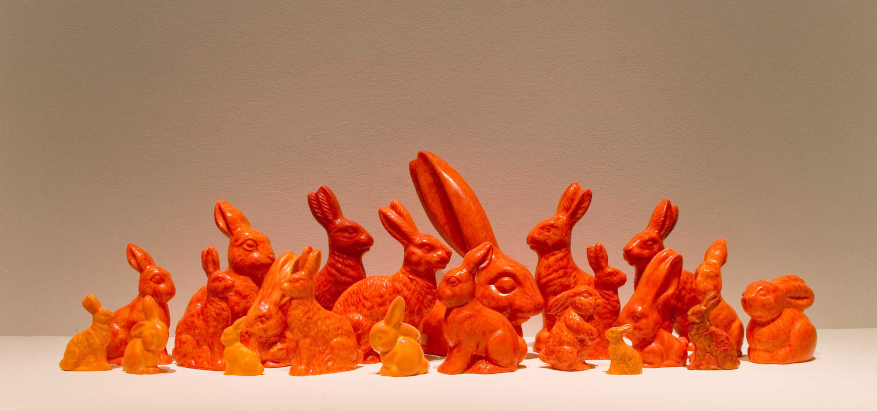 Bertie and friends  (installation detail) Belgian chocolate, cocoa powder, food grade colouring