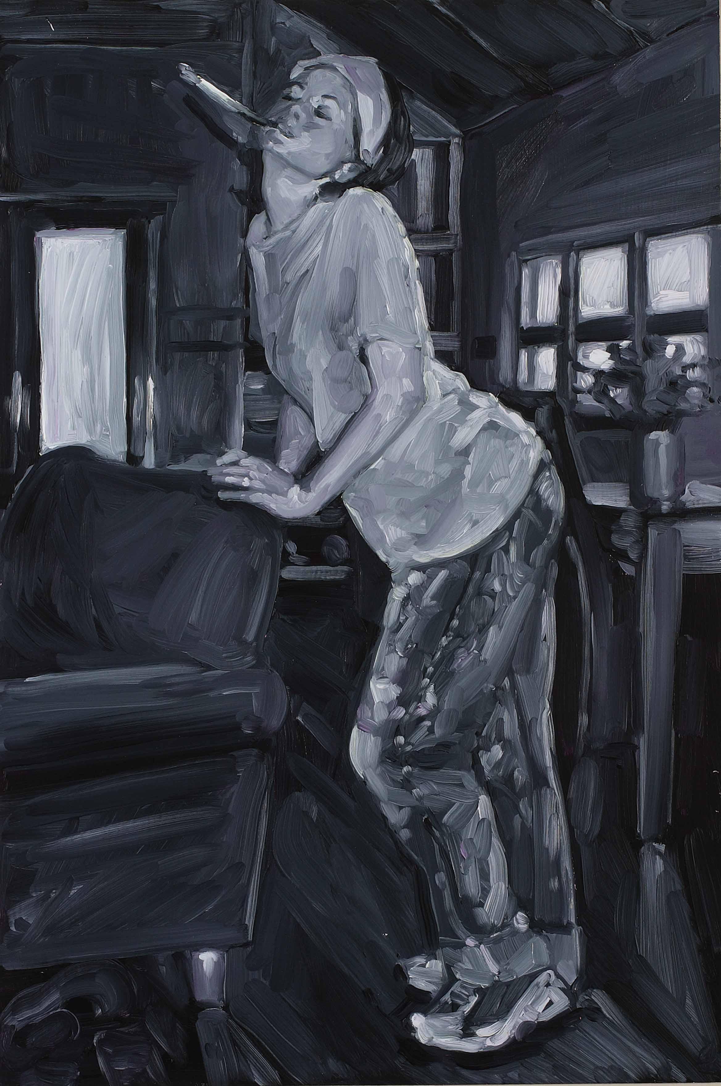 Smoker, oil on board, 60 x 40 cm, 2008.