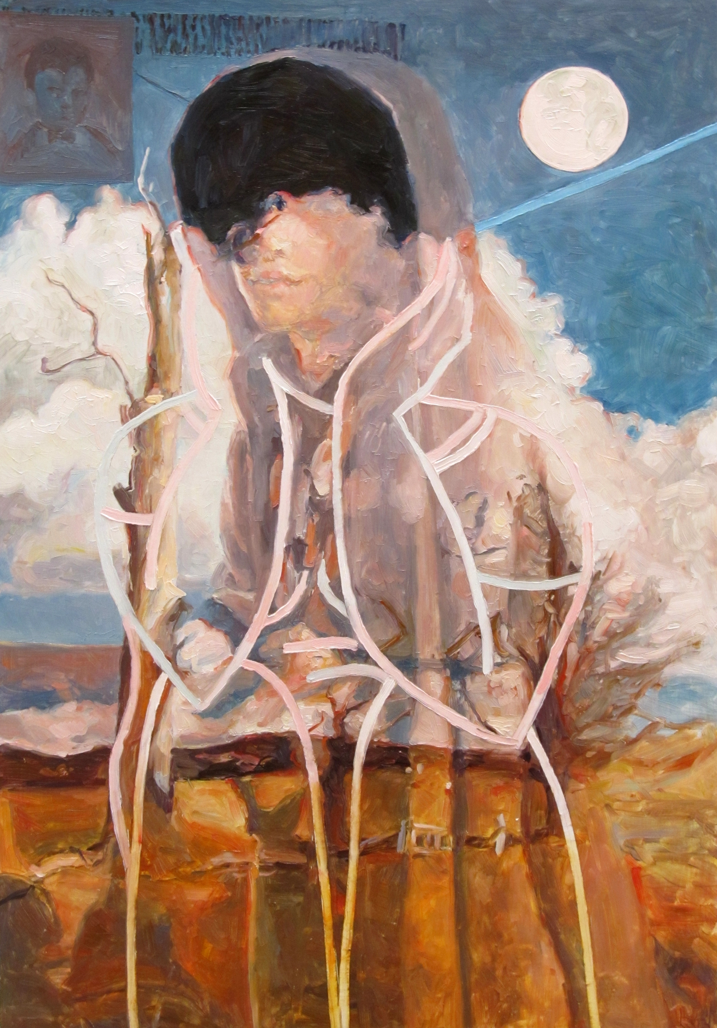 Ghost in Dressing Gown (after Joan Ross), oil on board, 60 x 40 cm, 2013.