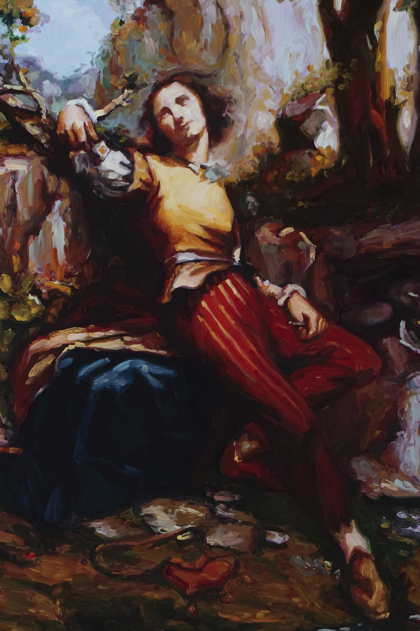 Reclining Sculptor (after Courbet), oil on board, 60 x 40 cm, 2008.