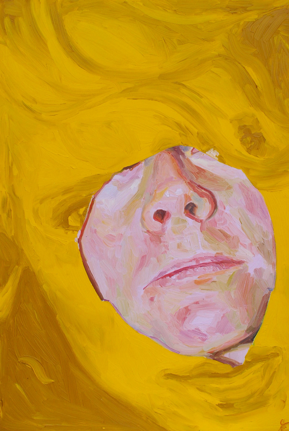 Self-Portrait in Cadium Yellow, oil on board, 60 x 40 cm, 2007.