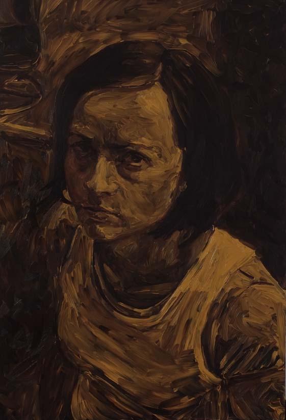 untitled (self-portrait in umber), oil on board 60 x 40 cm, 2007.